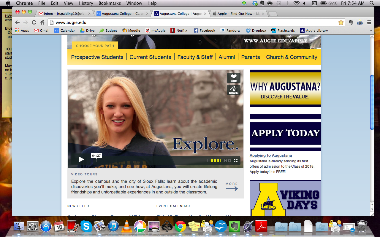 A video tour of campus on augie.edu conducted by Maren Engel and Thad Titze.