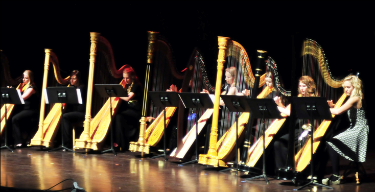 Both current harp students and alumni played in a harp ensemble in the 2013 Viking Varieties at the Pavillion.