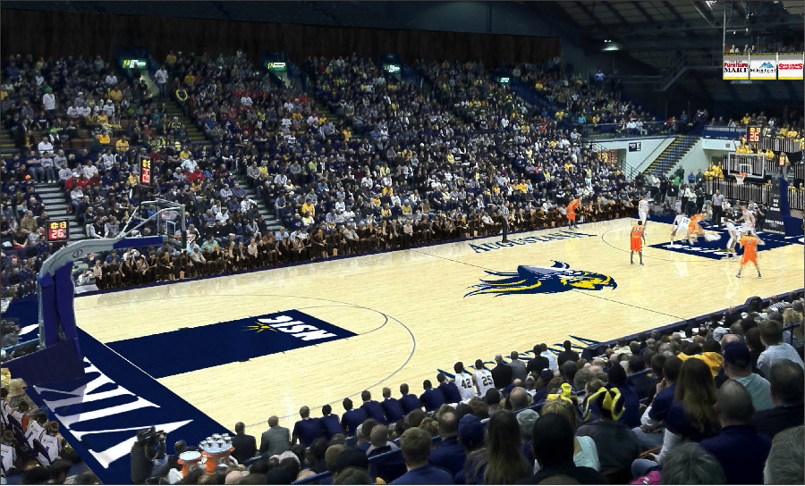 Should Augustana make a deal with the Sioux Falls arena to hold basketball games there, an artist's rendering depicts possible design options for the interior, which would be devoted entirely to Augustana themes. Photo courtesy of Bill Gross.
