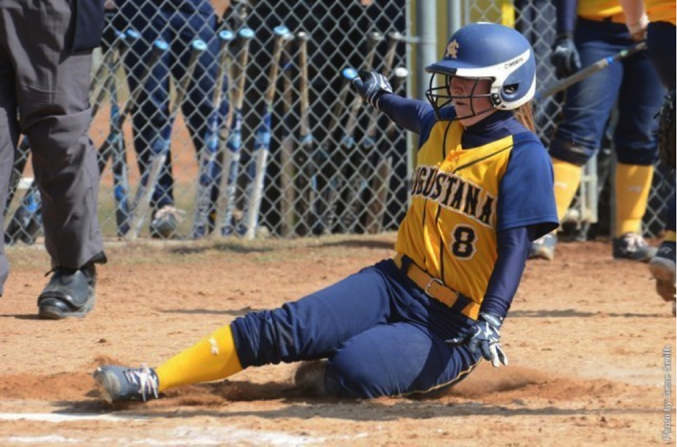 Sophomore Carly Peterson slides into home during Augustana's sweep of Bemidji State on April 5. Peterson was four for six, helping the team to its 13-1 and 9-5 victories.